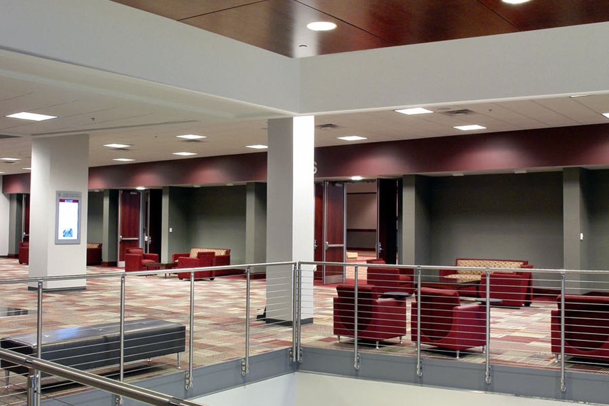 colvard student union jhh architects maroon and green living room
